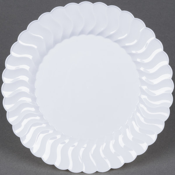 Fineline Flairware 207-WH 7 1/2 inch White Plastic Plate - 18/Pack