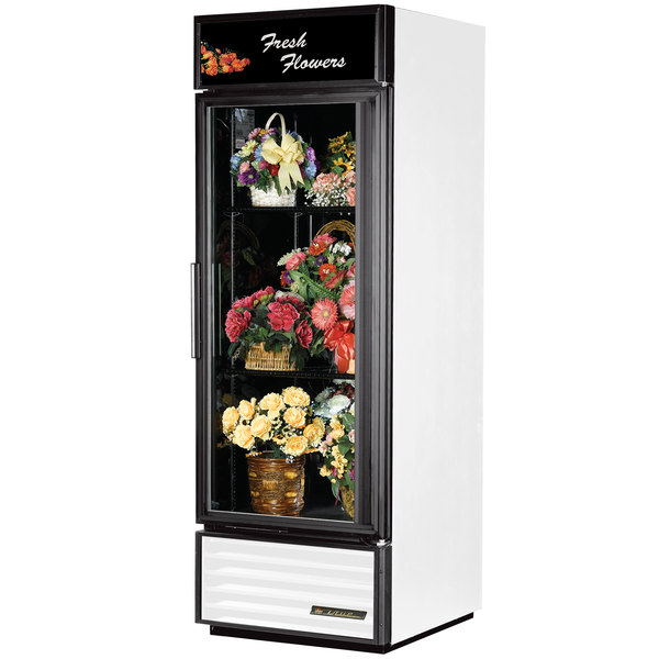 True GDM-23FC-LD White Glass Door Floral Case - 23 Cu. Ft.