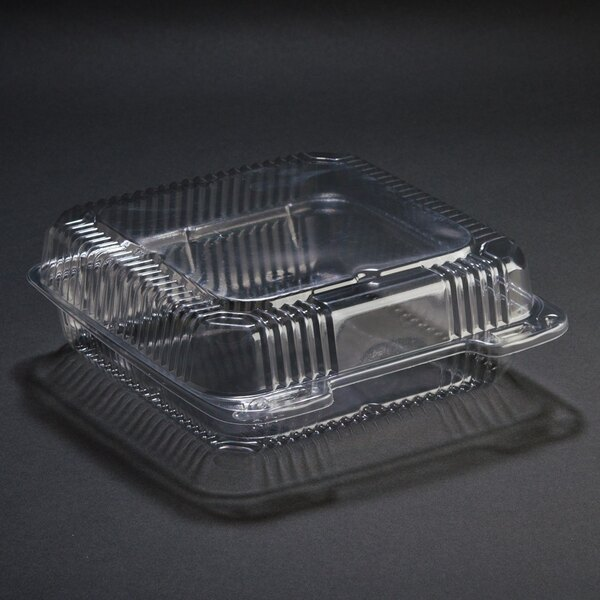 Duralock 9 inch x 9 inch x 3 inch Clear Hinged Lid Plastic Container 200 / Case
