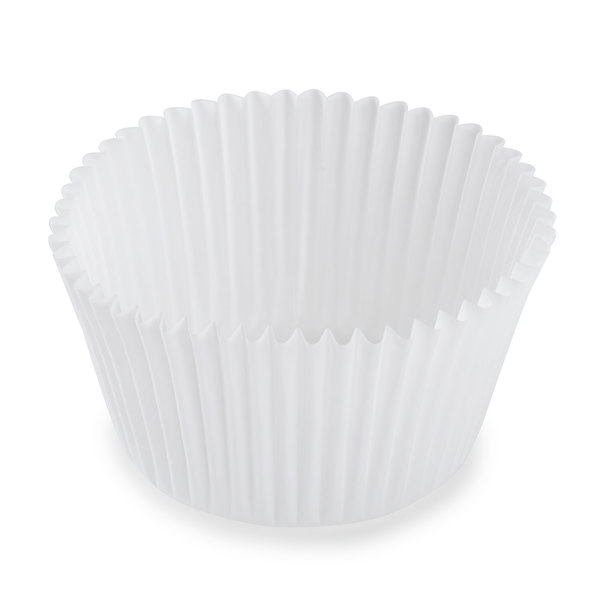 White Fluted Baking Cup 2 1/4 inch x 1 5/8 inch - 10000/Case