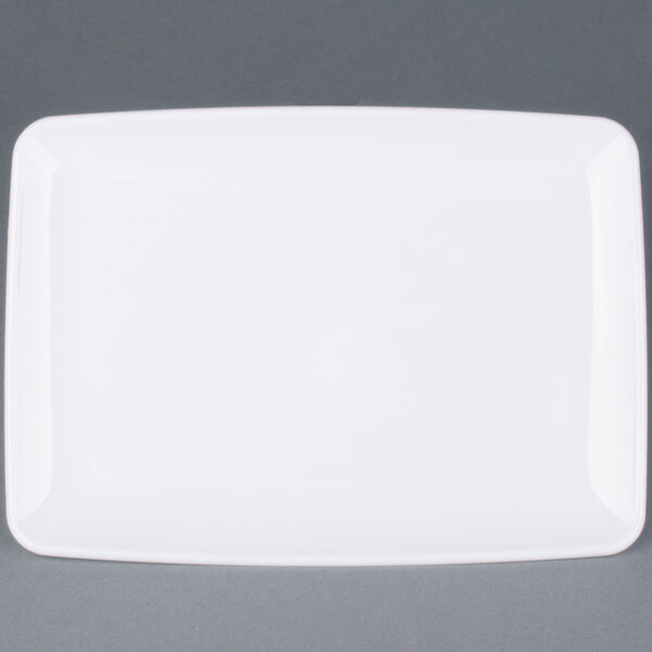 Sabert 2306 Mozaik 9 1/2 inch X 6 inch White Rectangular Polystyrene Platter / Catering Tray - 72/Case