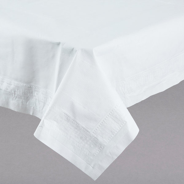 Hoffmaster 210130 54 inch x 108 inch White Cellutex Tissue / Poly Paper Table Cover - 25/Case