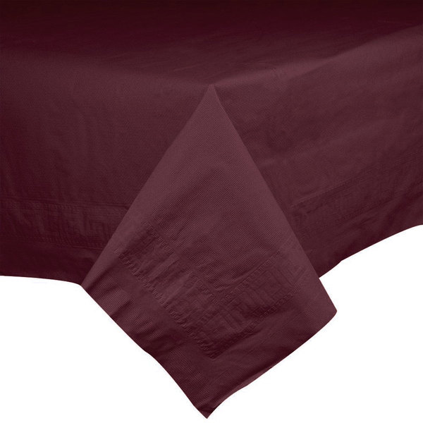 Hoffmaster 220624 54 inch x 108 inch Cellutex Burgundy Tissue / Poly Paper Table Cover - 25/Case