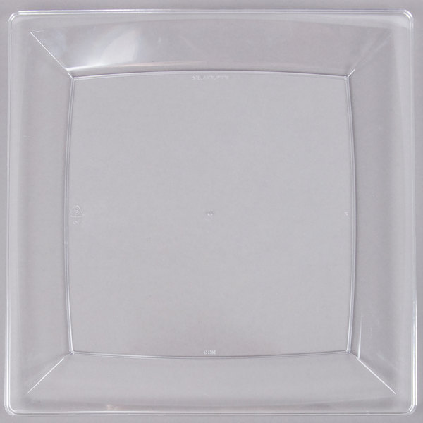 WNA Comet MS9CL 8 1/4 inch Clear Square Milan Plastic Plate - 12/Pack
