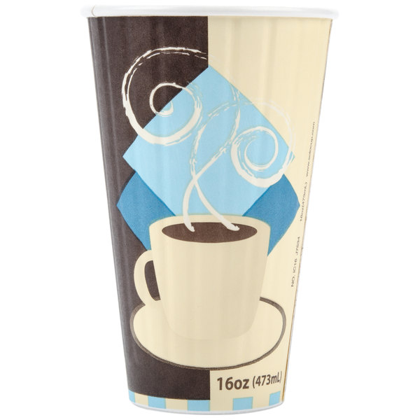 Dart Solo IC16-J7534 Duo Shield 16 oz. Poly Paper Hot Cup - 525/Case