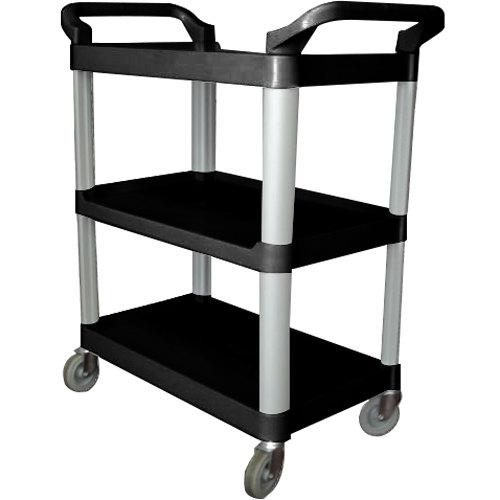 33 1/4 inch x 17 inch x 37 1/2 inch Black Three Shelf Utility Cart / Bus Cart