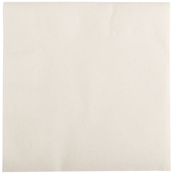 Choice 10 inch x 10 inch Ecru / Ivory 2-Ply Beverage / Cocktail Napkins - 250 / Pack