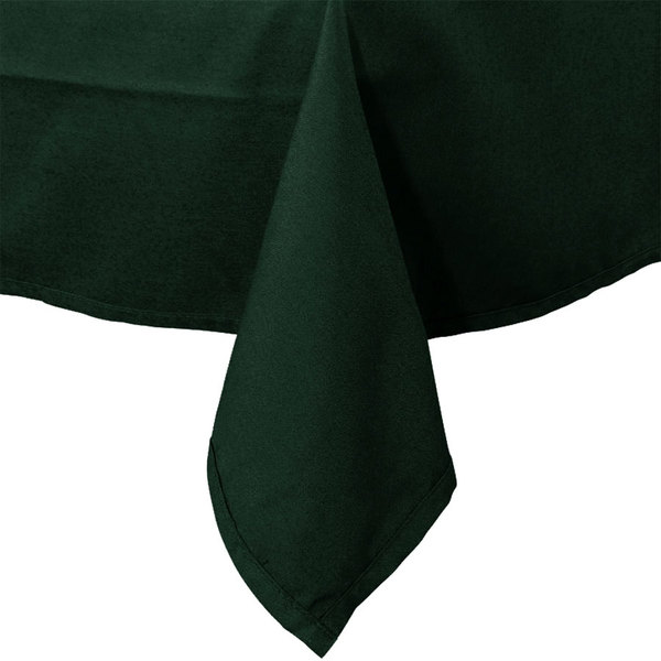72 inch x 72 inch Forest Green Hemmed Polyspun Cloth Table Cover