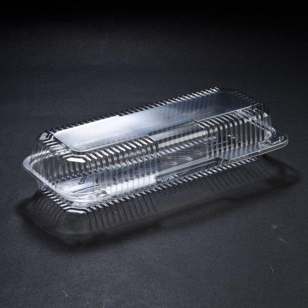 Dart Solo C65UT1 StayLock 12 1/4 inch x 5 1/8 inch x 2 3/4 inch Clear Hinged Plastic 12 inch Small Strudel Container - 250 / Case