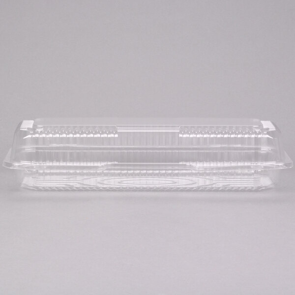 Dart Solo C65UT1 StayLock 12 1/4 inch x 5 1/8 inch x 2 3/4 inch Clear Hinged Plastic 12 inch Small Strudel Container - 250/Case