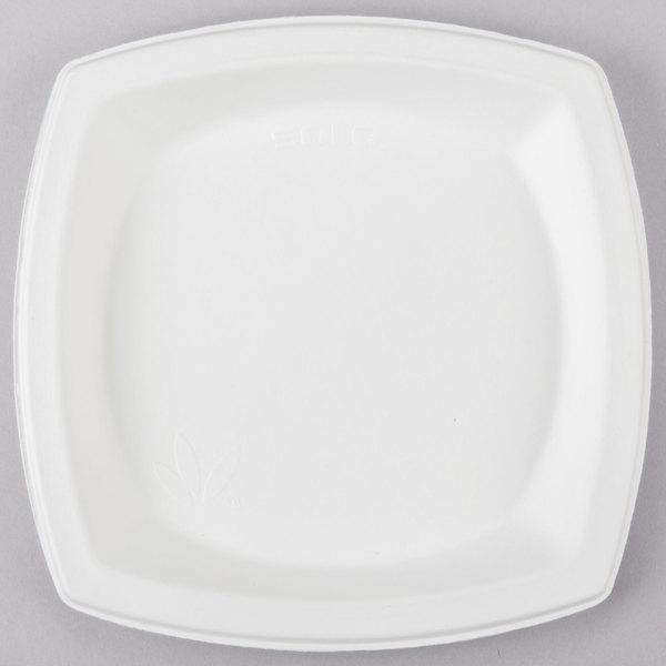 Dart Solo SCC8PSC Bare 8 1/4 inch Square Compostable Sugarcane Plate - 500/Case
