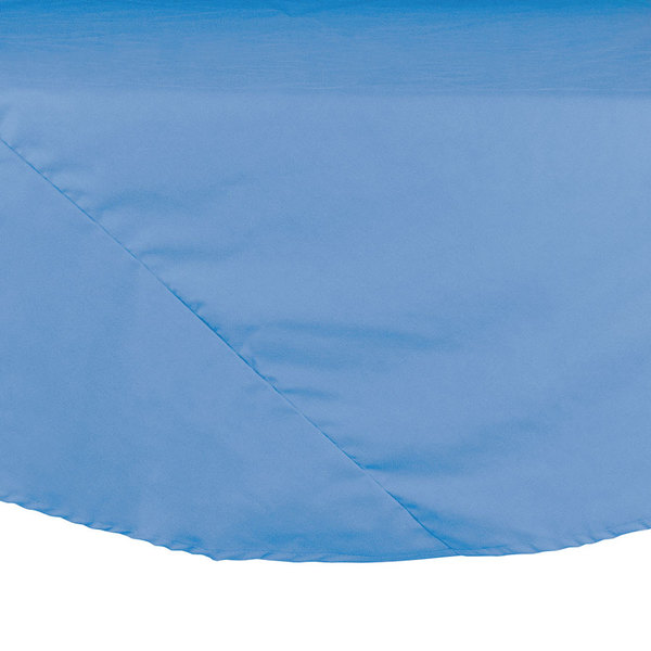 132 inch Light Blue Round Hemmed Polyspun Cloth Table Cover