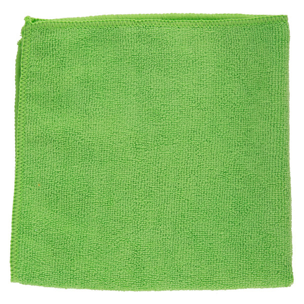 16 inch x 16 inch Green Microfiber Cleaning Cloth - 12/Pack