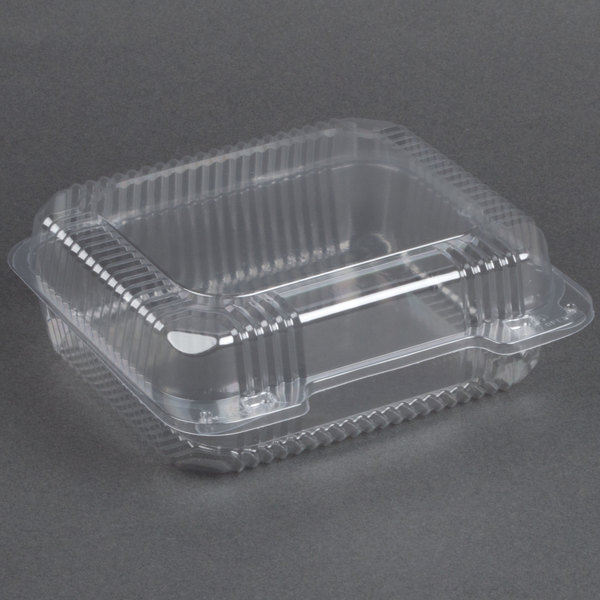 Dart Solo C51UT1 StayLock 8 1/4 inch x 7 3/4 inch x 3 inch Clear Hinged Plastic Medium Container - 250/Case