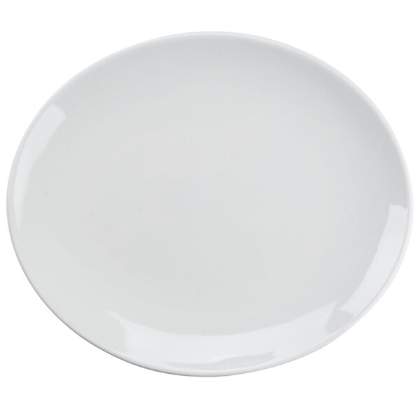 Tuxton VPH-114 Florence Coupe Platter in Porcelain White - 11 1/2 inch x 9 7/8 inch 12 / Case