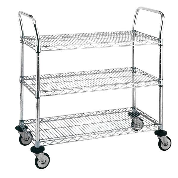 Metro MW705 Super Erecta 18 inch x 36 inch x 38 inch Three Shelf Standard Duty Chrome Utility Cart