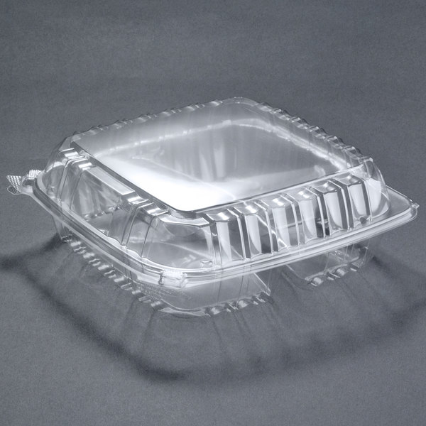 Dart Solo C95PST3 9 1/2 inch x 9 1/2 inch x 3 1/4 inch ClearSeal 3 Compartment Hinged Lid Plastic Container 200/Case