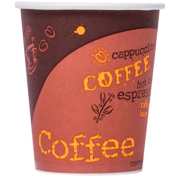 Choice 10 oz. Poly Paper Hot Cup with Coffee Design - 50/Pack