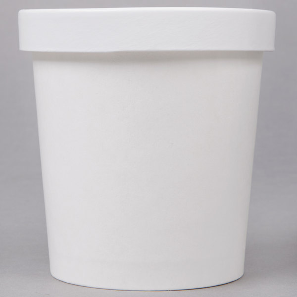 Choice 16 oz. Double-Wall Poly White Paper Soup / Hot Food Cup with Vented Paper Lid  - 250/Case
