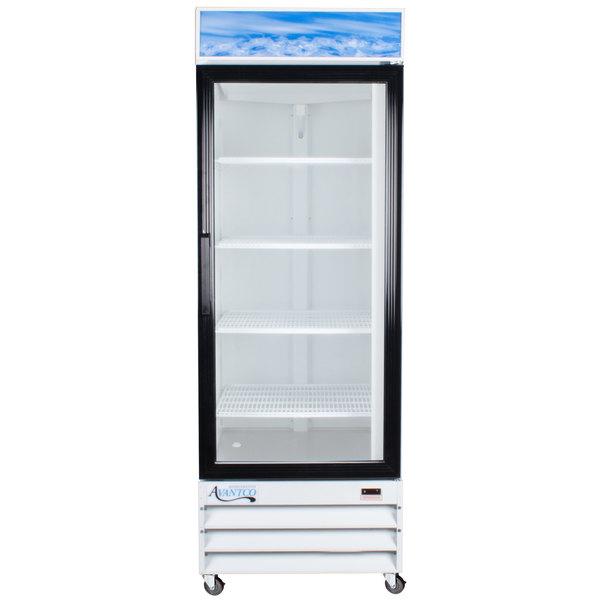 Avantco GDC23 28 inch White Swing Glass Door Merchandiser Refrigerator with LED Lighting