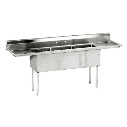 FE-3-1014-15RLX Three Compartment Stainless Steel Commercial Sink ...
