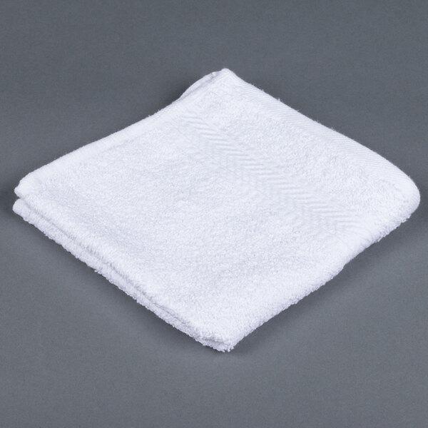 Lavex Lodging 13 inch x 13 inch 100% Ring Spun Cotton Hotel Washcloth 1.5 lb. - 12/Pack
