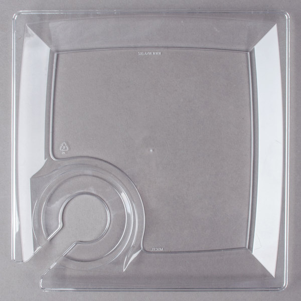 WNA Comet MSCTL 8 inch Clear Square Milan Plastic Cocktail Plate with Cup Holder  - 120/Case