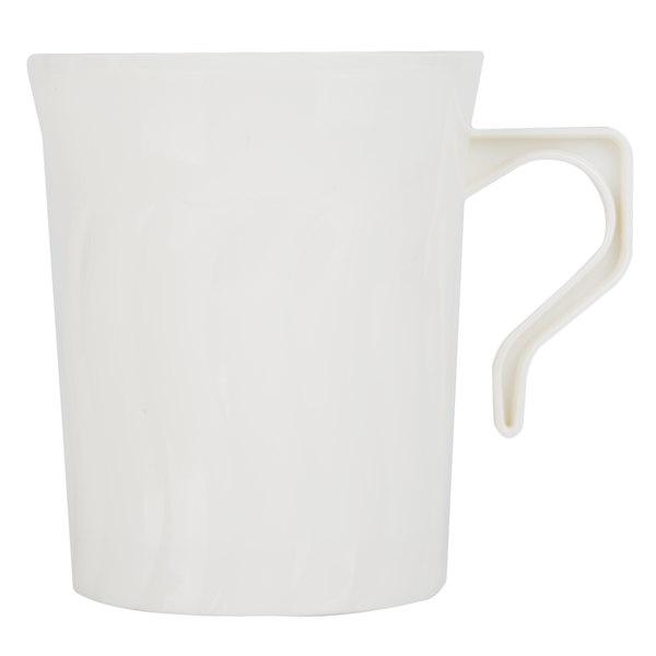 Fineline Flairware Bone 208-BO 8 oz. Plastic Coffee Mug - 8 / Pack
