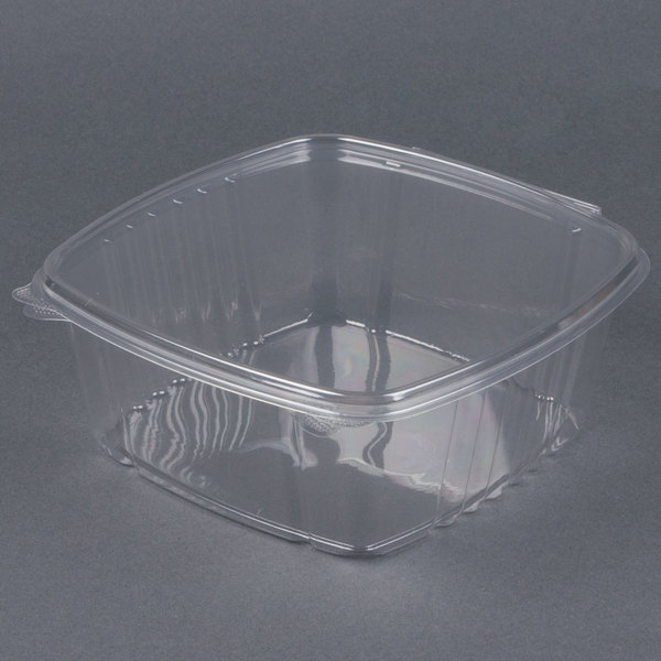 D&W Fine Pack VH64P VersaPak 64 oz. Recyclable Square Hinged Take Out Deli Container - 200/Case