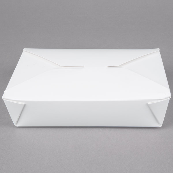 Bio-Pak 02BPWHITEM 8 inch x 6 inch x 2 inch White Microwavable Paper #2 Take-Out Container - 50/Pack
