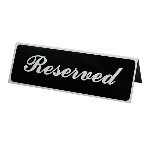 Vollrath 4135 9 inch x 3 inch Table Tent Sign Reserved