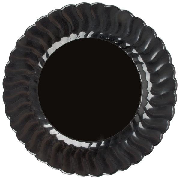 Fineline Flairware 209-BK 9 inch Black Plastic Plate - 180/Case