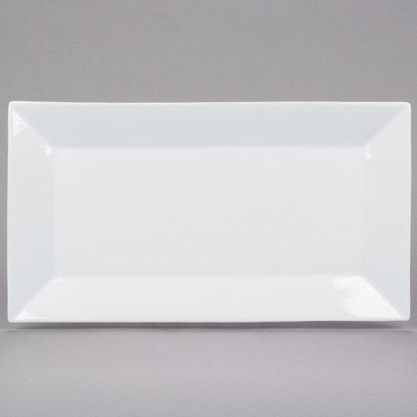 Core 14 1/2 inch x 8 1/4 inch Bright White Rectangular China Platter  - 12/Case