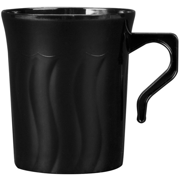 Fineline Flairware 208-BK Black 8 oz. Plastic Mug - 288/Case