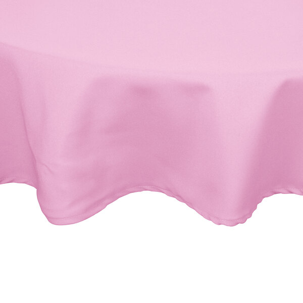 90 inch Round Pink 100% Polyester Hemmed Cloth Table Cover
