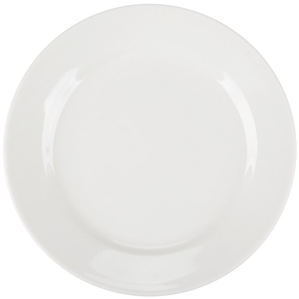 Core 6 1/4 inch Ivory (American White) Wide Rim Rolled Edge China Plate - 36/Case
