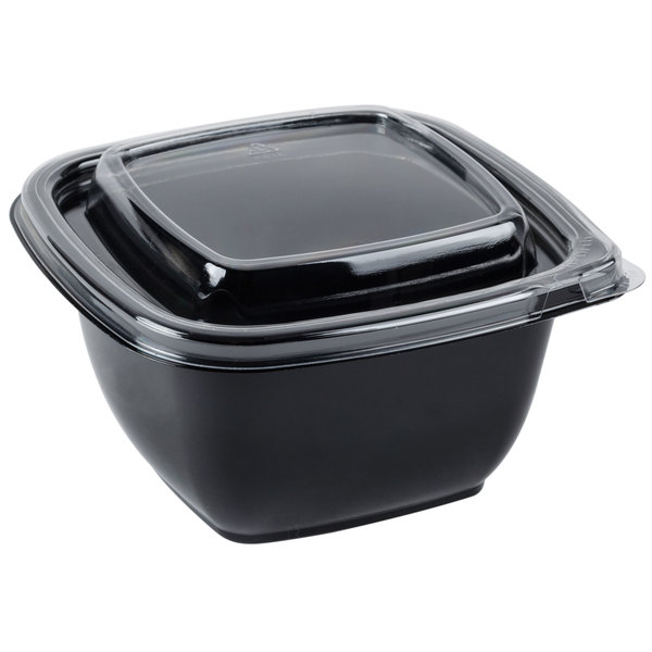 Sabert C95012TR250 Bowl2 12 oz. Black PETE Square Tamper Evident Bowl with Lid - 250/Case