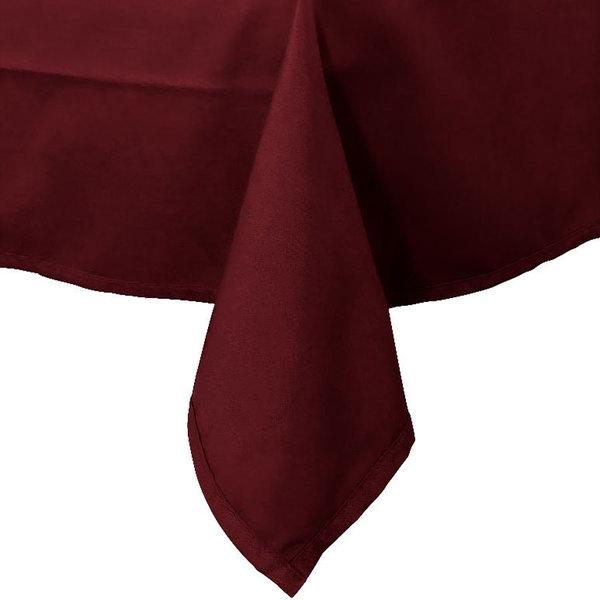 54 inch x 114 inch Burgundy Hemmed Polyspun Cloth Table Cover