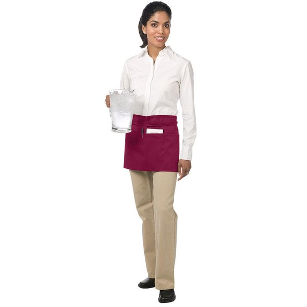 Chef Revival 605WAFH-BG Customizable Burgundy Front of the House Waist Apron - 12 inchL x 24 inchW