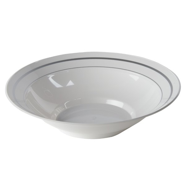 WNA Comet MPBWL10WSLVR 10 oz. White Masterpiece Bowl with Silver Accent Bands 150 / Case