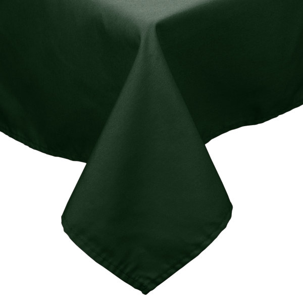 72 inch x 72 inch Forest Green 100% Polyester Hemmed Cloth Table Cover