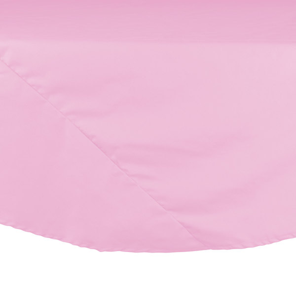 90 inch Pink Round Hemmed Polyspun Cloth Table Cover