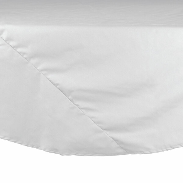 90 inch White Round Hemmed Polyspun Cloth Table Cover