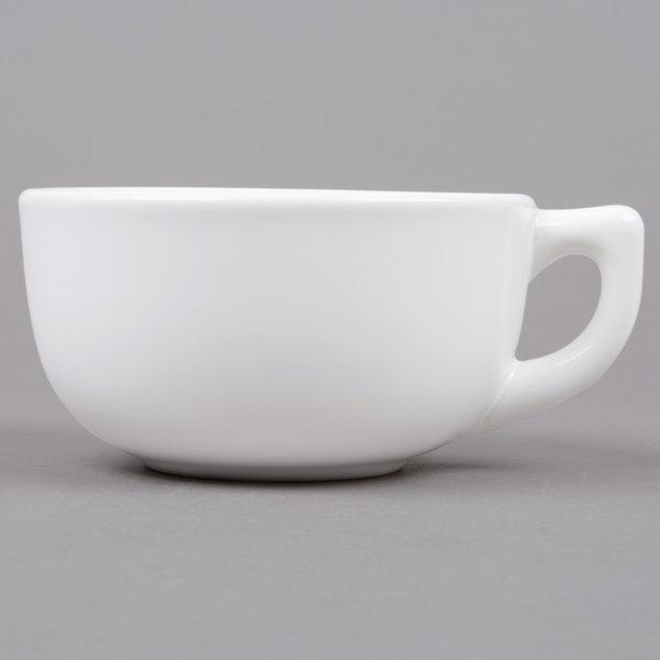 Tuxton BWF-1402 DuraTux 14 oz. White Jumbo China Cappuccino Cup - 24/Case