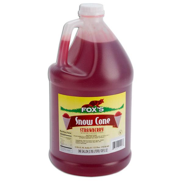 Fox's Strawberry Snow Cone Syrup - 1 Gallon
