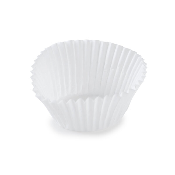 White Fluted Baking Cup 1 1/4 inch x 7/8 inch - 10000/Case
