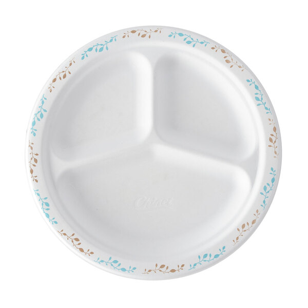Huhtamaki Chinet 22517 9 1/4 inch 3-Compartment Molded Fiber Round Plate with Vines Design - 125 / Pack