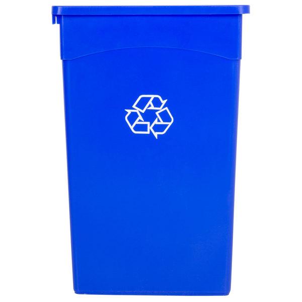 Continental 8322-1 23 Gallon Blue Wall Hugger Recycling Trash Can