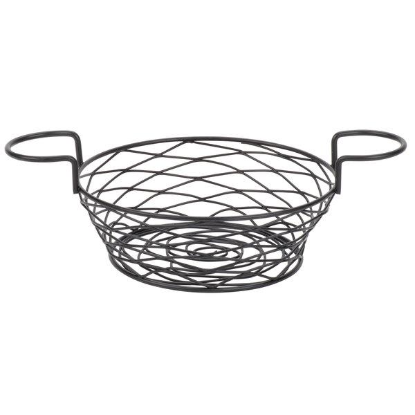 American Metalcraft BNBB83 Round Birdnest Black Metal Basket with 2 Ramekin Holders - 8 inch x 3 5/8 inch