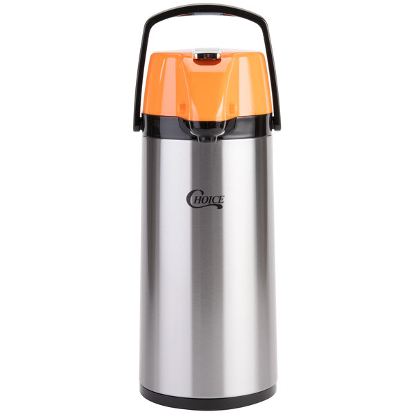 Choice 2.2 Liter Glass Lined Stainless Steel Decaf Airpot with Orange Lever